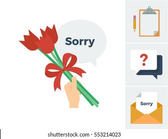 A hand holding a small bouquet of tulip flowers tied with a ribbon bow with a speech bubble saying sorry vector illustration icon with accompanying related icons
