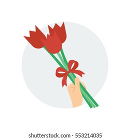 A hand holding a small bouquet of tulip flowers tied with a ribbon bow with a grey circle background vector illustration icon