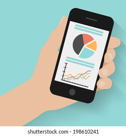 Hand holding smart phone with graphs on modern background. Flat design