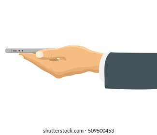 Hand holding smart phone horizontally side view. Businessman hand holds the phone sideways. Vector illustration in flat design.