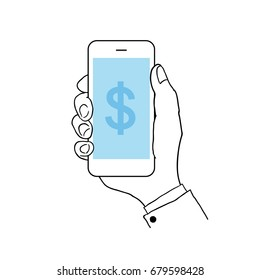 Hand holding a smart phone illustration. blank blue screen cell phone. Hand draw line art vector illustration.