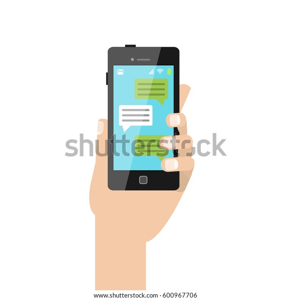 Hand holding a smart phone with messages on the screen. Vector cartoon style illustration.