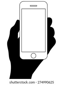 Hand Holding Smart Phone Silhouette