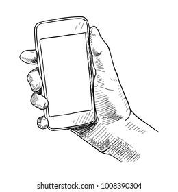 Hand holding smart phone, sketch vector illustration