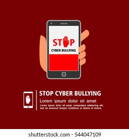 Hand holding smart phone with stop cyber bullying campaign on screen