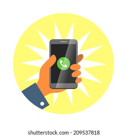 Hand holding smartphone, answer an incoming call. Vector illustration.