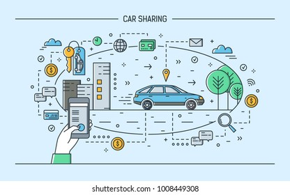 Hand holding smartphone and automobile on city street. Concept of car sharing and rental electronic service or carsharing mobile application. Colorful vector illustration in modern line art style.