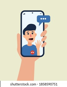 A hand holding smartphone with bestfriend on screen. Video call concept. minimalist vector flat illustration. editable design template