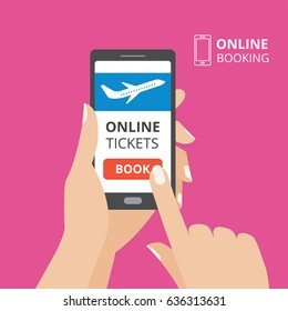 Hand holding smartphone with book button and airplane icon on screen. Design concept of online tickets, flight booking mobile application. Flat design vector illustration