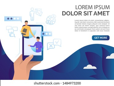 Hand holding smartphone with client comments vector illustration. Feedback online, client review, social networking. Feedback concept. Can be used for webpages, presentations, banners