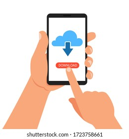 Hand holding smartphone with cloud and download button. Vector Illustration.