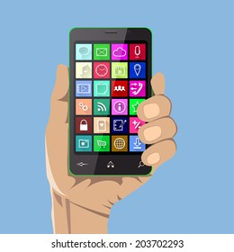 A hand holding a smartphone with colorful icons. Vector illustration