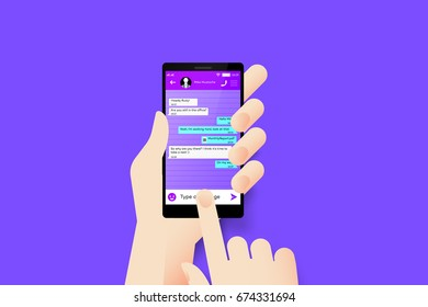 Hand Holding Smartphone With Conceptual Social Messenger Mobile Application Interface. Material Design Vector Illustration.