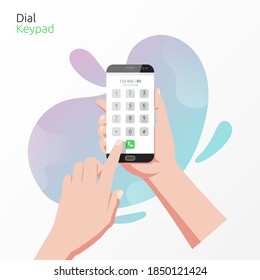 Hand holding smartphone with dial keypad app concept. Technology for calling with liquid background vector illustration.