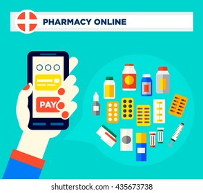 Hand holding a smartphone. Drug screen concept of online pharmacy vector illustration in flat style. Easy to edit, text could be removed.