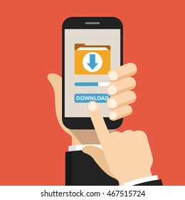 Hand holding smartphone with file download button on the screen. Downloading process concept. Flat vector illustration.