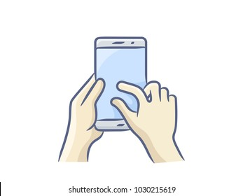 Hand holding smartphone, finger touching screen. Vector illustration. Touch screen gesture icon for smartphone. Vector icon for a mobile app user interface or manual