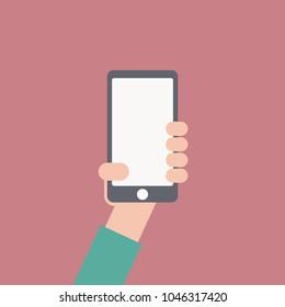 Hand holding smartphone . Flat design