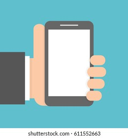 Hand holding smartphone. Flat design