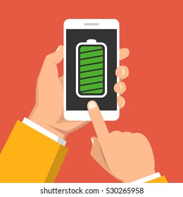 Hand holding smartphone with full battery on the screen. Flat vector illustration.