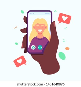 Hand holding smartphone with girlfriend on screen. Video call concept. Video call with loved one. Vector flat cartoon illustration.