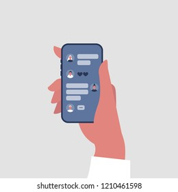 Hand holding a smartphone. Group chat conceptual illustration. Different elements of online conversation: speech bubbles, icons. Mobile messenger interface. Flat editable vector, clip art