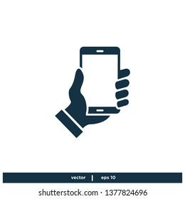 hand holding smartphone icon symbol