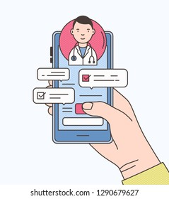 Hand holding smartphone with internet chat with doctor, therapist or physician on screen. Online medical advise or consultation service. Colorful vector illustration in modern line art style.