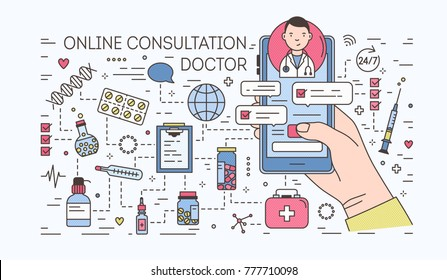 Hand holding smartphone with internet chat with doctor on screen against pills and medicines on background. Medical online consultation. Colorful banner in line art style. Vector illustration.