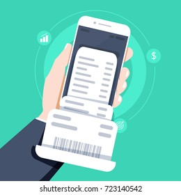 Hand holding smartphone with invoice bill paper , flat style mobile phone with invoice bill paper, concept of online payment, finance, tax, Vector illustration. Flat design.