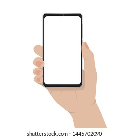 Hand holding smartphone isolated with blank screen, Mobile phone