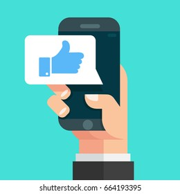 Hand holding smartphone with like message on screen,  Concept for websites, web banner. Flat design vector illustration