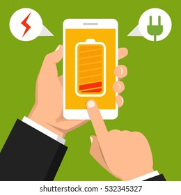 Hand holding smartphone with low battery on the screen. Flat vector illustration.