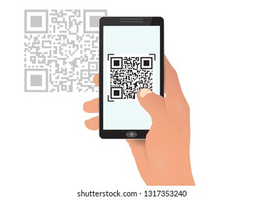 Hand holding smartphone mobile phone scanning qrcode vector illustration