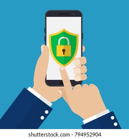 Hand holding smartphone with mobile security on screen. Smartphone lock screen. Vector illustration in flat style