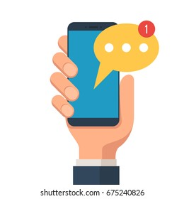 Hand holding smartphone with new message on a screen. Chat, mobile messenger concepts. Vector illustration in flat style isolated on white background