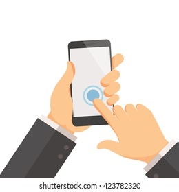 Hand holding smartphone on the screen vector illustration