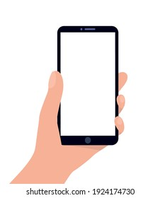 Hand holding a smartphone on a white background. Template. Flat vector illustration