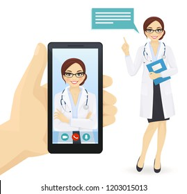 Hand holding smartphone with online female doctor video chat vector illustration