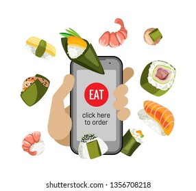 A hand is holding a smartphone. Order food delivery online. Phone with a picture of sushi and a button eat. Isolated object on a transparent background.