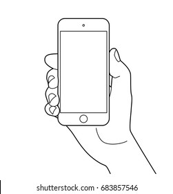 Hand holding smartphone. Outline icon, Vector illustration.