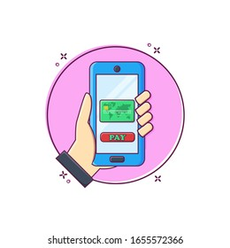 Hand holding smartphone pay with credit card icon vector flat design illustration on white background