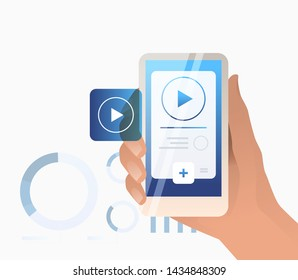 Hand holding smartphone with player interface. Watching video concept, livestream, mobile phone. Streaming concept. Vector illustration can be used for topics like broadcasting and vlog