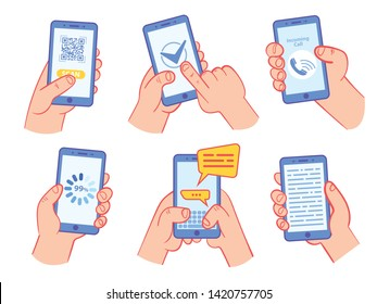 Hand holding smartphone with QR code, page load, online survey, internet voting, chatting, incoming call, screen reading, Internet access. Vector illustration. Isolated on white background