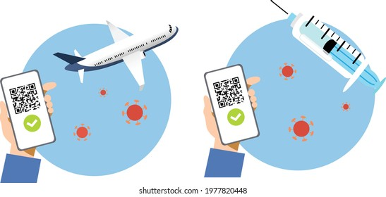 Hand holding smartphone with QR code on screen vector. Concept of digital sanitary pass, or European Green pass, of vaccine passport. Travelling authorization. Certificate of immunity and vaccination.