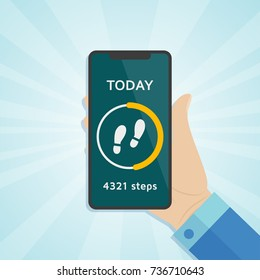 Hand holding smartphone with run tracker, running or walk steps sport  counter on screen . Vector illustration.