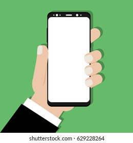 Hand holding smartphone Samsung Galaxy S8 with blank white screen. Concept in flat design on green background. Vector illustration