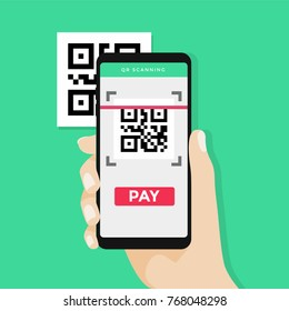 Hand holding smartphone to scan QR code on paper for detail, technology and business concept. vector