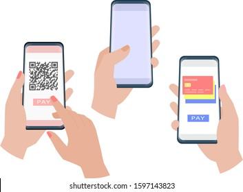 Hand holding smartphone set. Online payment. Vector illustration.