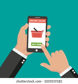 Hand holding smartphone with shopping app. Grocery delivery. Internet order. Online supermaket. Vector illustration in flat style